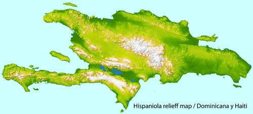 Full vector relief map of the Dominican Republic