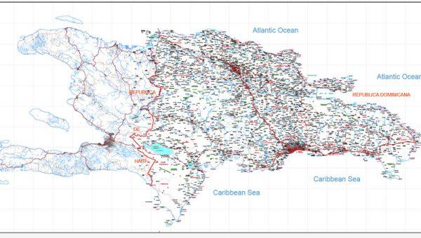 Republica Dominicana y Haiti Map full printable level 10, blanco, Adobe Illustrator