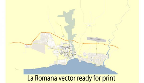 Map La Romana vector street Adobe Illustrator editable royalty free