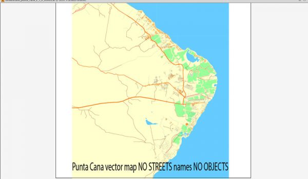 Map Punta Cana vector CLEAR Adobe Illustrator editable royalty free