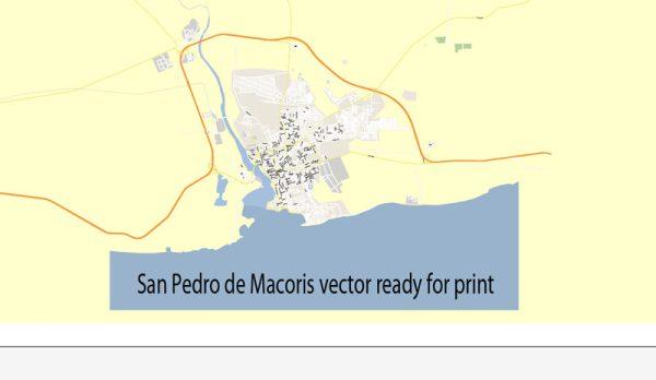 Map San Pedro de Macoris Dominicana vector Adobe Illustrator printable editable royaly free