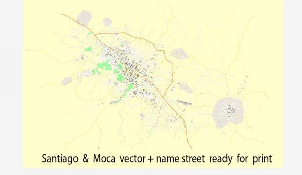 Santiago & Moca street vector map full editable printable Adobe Illustrator Royalty free
