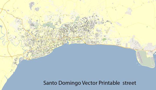 Map Santo Domingo full street vector ready for print editable Adobe Illustrator royalty free