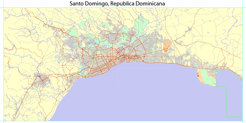 Full detailed vector map of Greater Santo Domingo, exact scale, the ability to bind to the coordinates.
