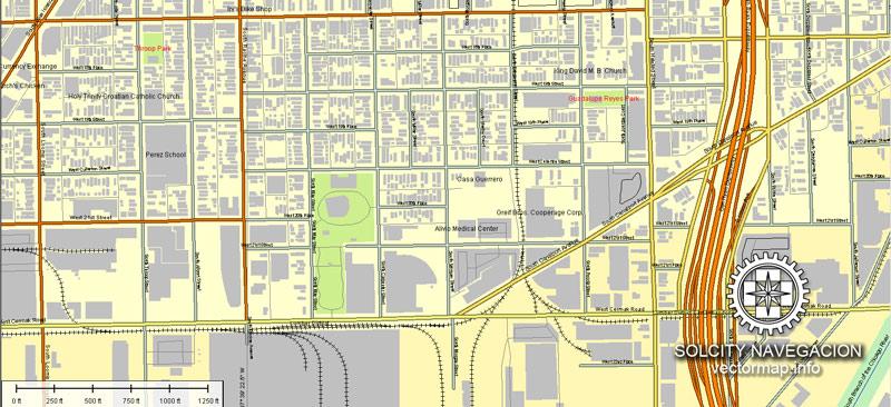 City map Chicago Illinois ai