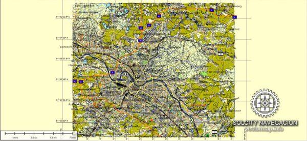 Dresden Map Vector printable street map Atlas 100 parts City Plan full editable, Adobe Illustrator, Royalty free