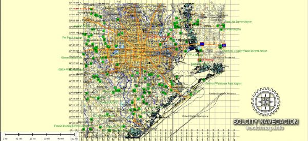 Houston Map printable vector full editable Street Map Adobe Illustrator Atlas 49 parts City Plan