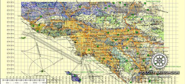Los Angeles Map Vector printable Atlas 49 parts street map full editable Adobe Illustrator City Plan