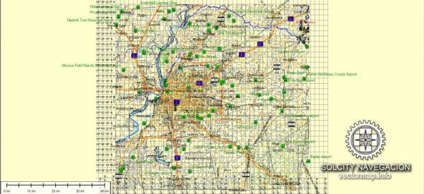 Memphis Vector Street Map Tennessee printable Atlas 49 parts full editable City Plan Adobe Illustrato