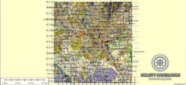 Milano Map Vector printable street map Atlas 49 parts City Plan editable Adobe Illustrator Royalty free