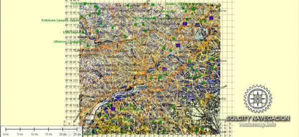 Philadelphia Map Vector printable Atlas 49 parts City Plan full editable Adobe Illustrator Street Map