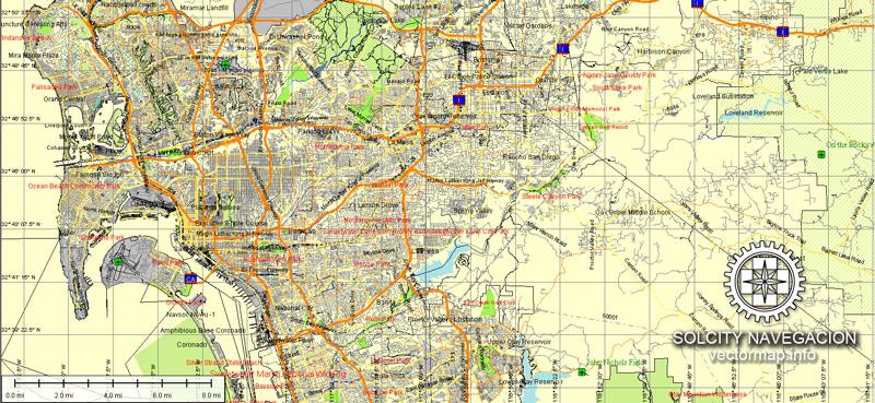 Pdf map San Diego Tijuana California