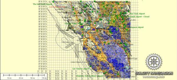 San Francisco Bay Map Atlas 100 parts California printable vector street map full editable City Plan Adobe Illustrator