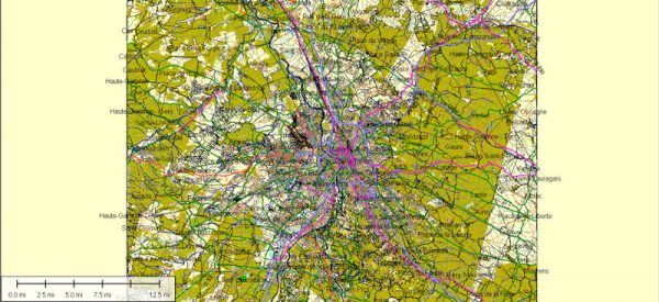 Toulouse Map Vector France City Plan Atlas 49 parts editable Street Map Adobe Illustrator