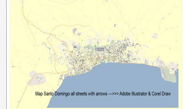 map Preview Santo Domingo Adobe Illustrator, Corel Draw, DXF AutoCAD for design, projects, architect