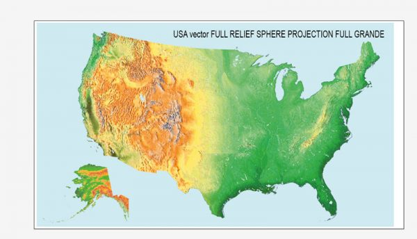 *.CDR : Relief map USA FULL vector SPHERE projection Corel Draw relief only + water, no roads, no cities