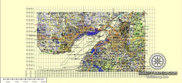 Cardiff, Newport, Bristol, Bath Map Vector *.AI : Great Britain Vector map Atlas 49 parts full printable editable Adobe Illustrator royalty free Street Map