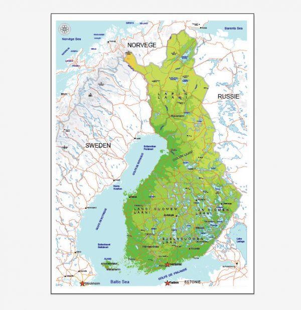 Detailed and layered Finland Vector map< ready for large size printing, fully editable in Adobe Illustrator