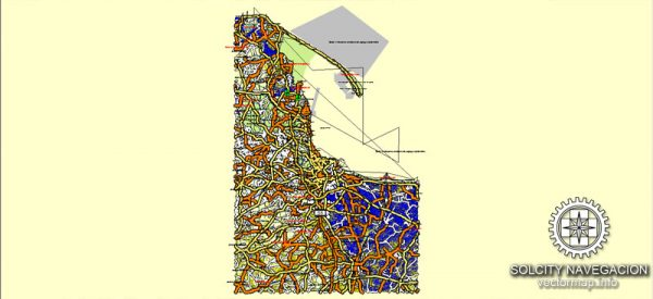 Gdansk Map Vector Poland Atlas 25 parts City Plan editable Adobe Illustrator Royalty free printable Street Map