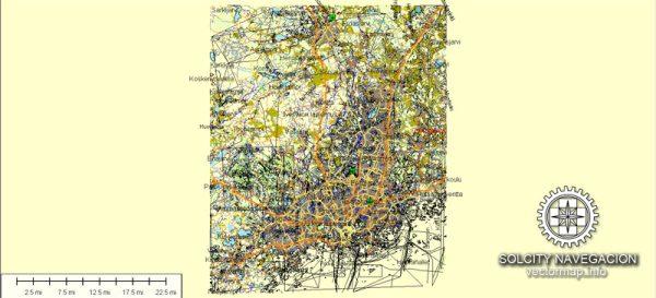 Helsinki Map Vector Printable Atlas 25 parts Finland editable City Plan Adobe Illustrator Street Map