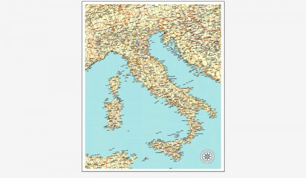 Italy Map printable vector Roadmap editable, Corel Draw, Royalty free