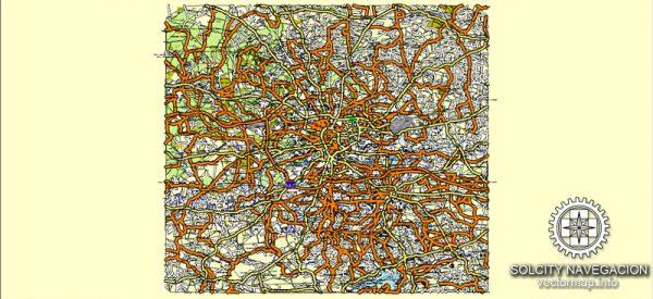 Krakow Map Vector Poland editable 25 parts Atlas City Plan Adobe Illustrator Royalty free printable Street Map