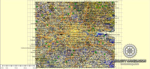 London Vector Map Atlas 100 parts City Plan full printable editable Adobe Illustrator Street Map
