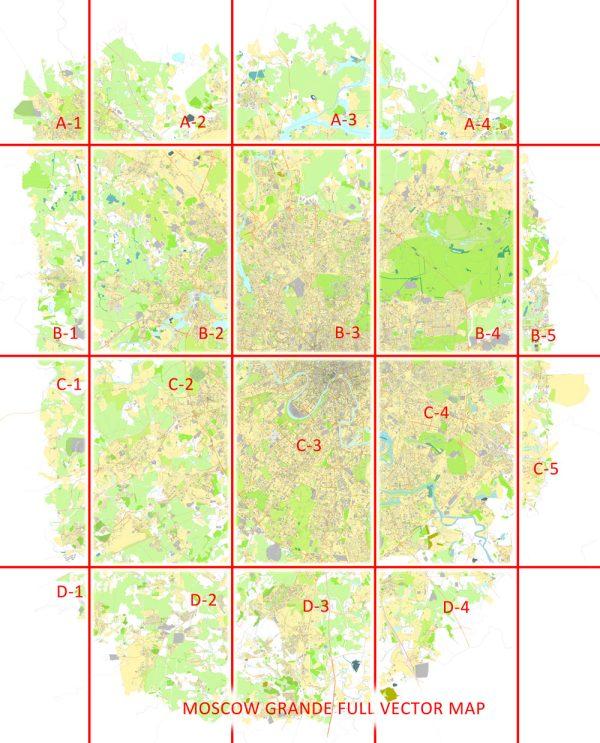Moscow Map Vector Grande Area City Plan Russia printable editable Street Map Adobe Illustrator