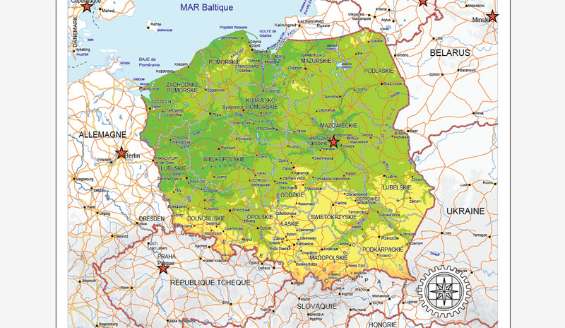 Street map full Poland Relief CDR