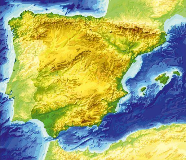 Spain Relief map printable vector, full editable, Adobe Illustrator, Royalty free