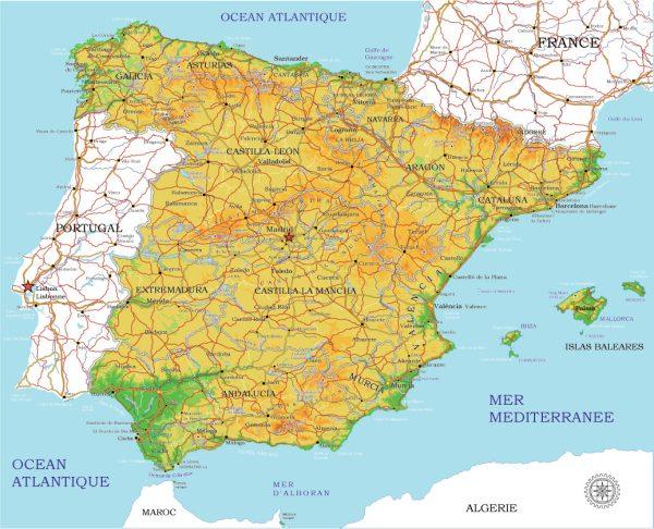 Full vector map Spain, Adobe Illustrator, Corel Draw