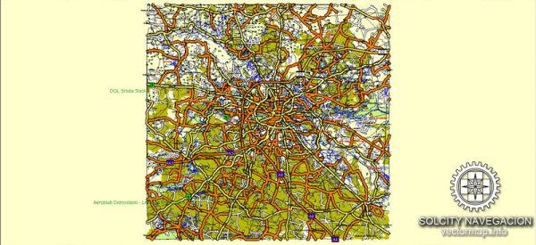 Wroclaw Map Vector Poland editable City Plan Adobe Illustrator Royalty free printable atlas 25 parts Street Map