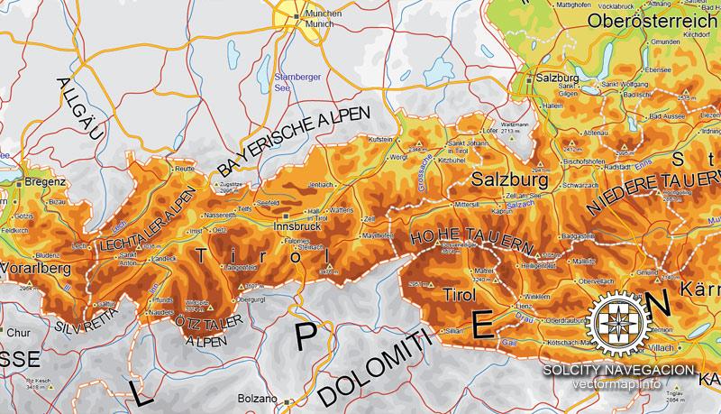 Street map Austria relief road CDR