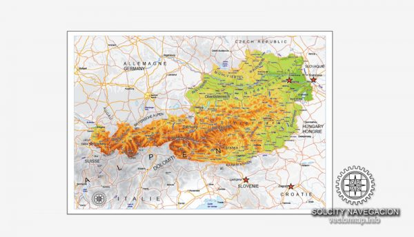 Detailed vector Relief road map Ver.2 of whole Austria. Scalable, editable, and printable vector map with main highways