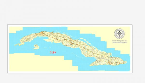 Cuba Country vector map roads, Adobe Illustrator