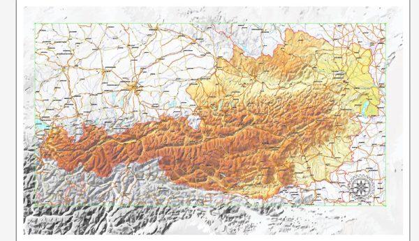 Austria vector Relief road map, full editable, Adobe Illustrator, Royalty free