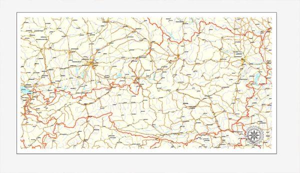 Austria vector Road map, full editable, Adobe Illustrator, Royalty free