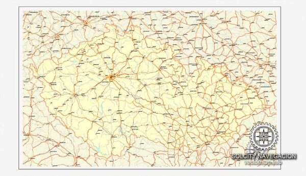 Czech Republic vector road map, full editable, Adobe Illustrator