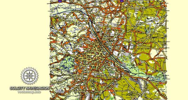Vienna vector map City Plan named all streets 25 frags for atlas print Austria Adobe Illustrator Street Map