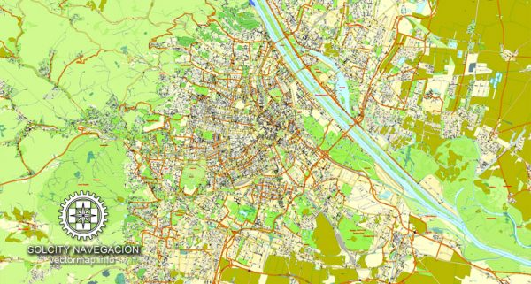 Vienna vector street map full named Austria Adobe Illustrator City Plan