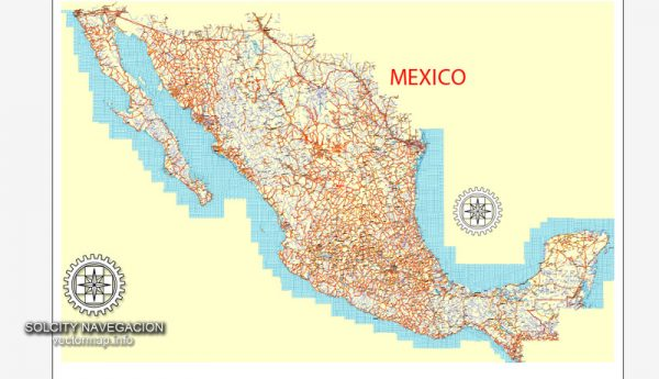 Mexico Country vector map roads, Adobe Illustrator