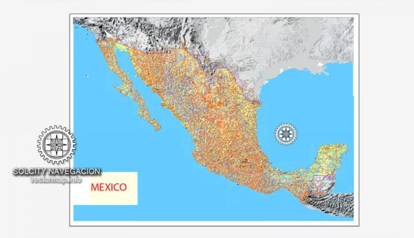 Mexico Country vector map roads + Relief vector and raster, Adobe Illustrator