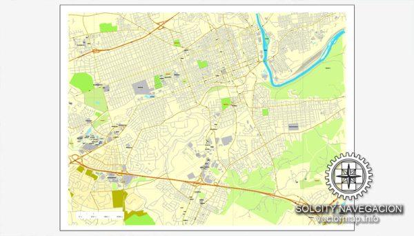 Vector map Allentown, Pennsylvania, US printable vector street City Plan map, full editable, Adobe Illustrator