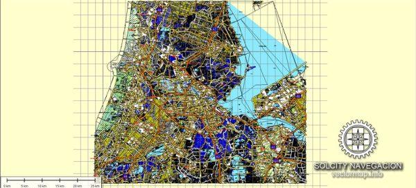 Amsterdam, Netherland printable vector street full Atlas 49 parts map, full editable, Adobe Illustrator, full vector 3 x 3 m, scalable, editable, text format street names, 246,4 mb ZIP All streets, all buildings.
