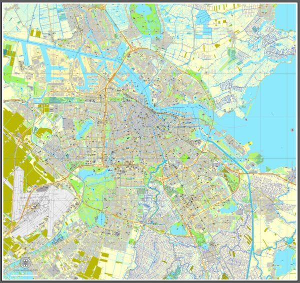Printable Map Amsterdam, Netherlands, printable vector street City Plan map, full editable, Adobe Illustrator