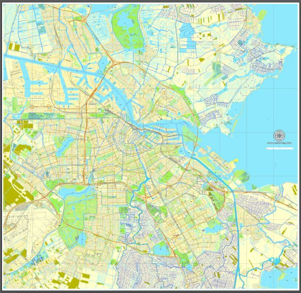Amsterdam, Netherlands, printable vector street Simple City Plan map, full editable, Adobe Illustrator, full vector, scalable, editable, text format street names, 8 mb ZIP