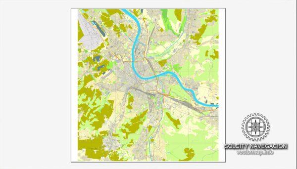Basel, Switzerland printable vector street City Plan map, full editable, Adobe Illustrator, full vector 3 x 3 m, scalable, editable, text format street names, 7,2 mb ZIP