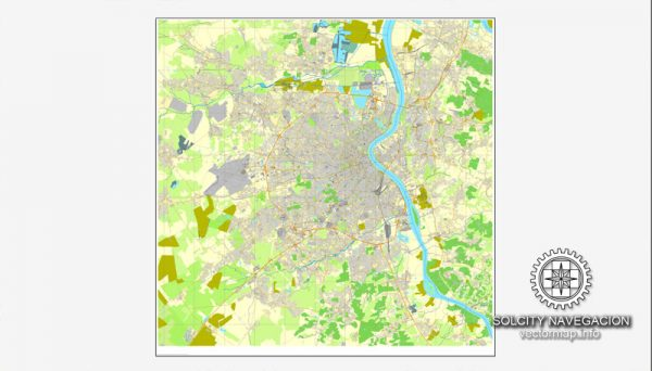Bordeaux, France printable vector street full City Plan map, full editable, Adobe Illustrator, full vector 3 x 3 m, scalable, editable, text format street names, 31,3 mb ZIP All streets, all buildings.