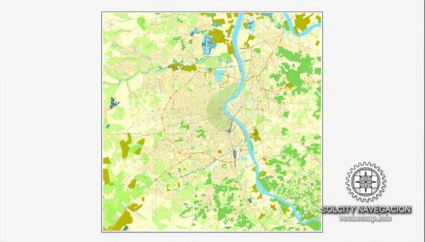 Bordeaux, France printable vector street Simple City Plan map, full editable, Adobe Illustrator