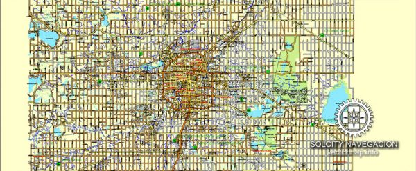 Edmonton map vector Adobe Illustrator: Printable City Plan editable Street Road Map Atlas 25-parts of Edmonton Canada